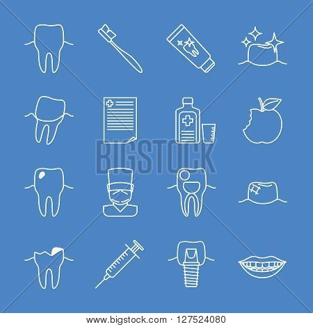 Stomatology dental line icons. Vector stomatology signs and dental health thin line symbols