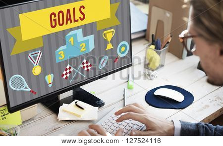 Businessman Office Screen Shot Goals Concept
