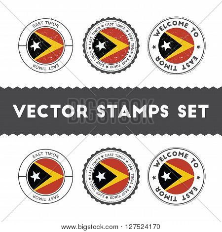 East Timorese Flag Rubber Stamps Set. National Flags Grunge Stamps. Country Round Badges Collection.
