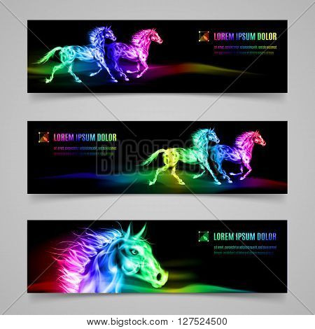 Set of banners with horses in multicolored flame