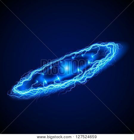 Powerful ring lightening in blue hues on dark background with sparkle in the center