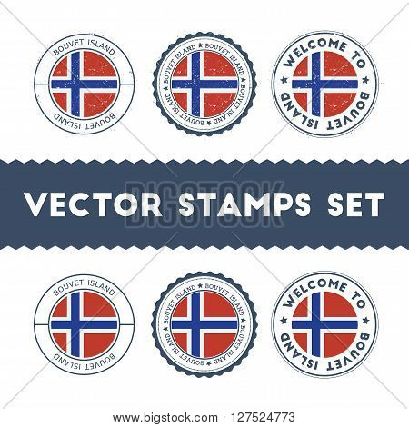 Bouvet Island Flag Rubber Stamps Set. National Flags Grunge Stamps. Country Round Badges Collection.