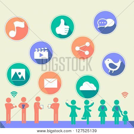Social network icon with flat design and people with music thumbupvideoimagebirdimageemailcloudchat balloon with long shadow and people using wifi-to connect each other