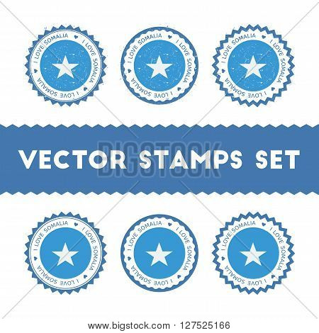 I Love Somalia Vector Stamps Set. Retro Patriotic Country Flag Badges. National Flags Vintage Round