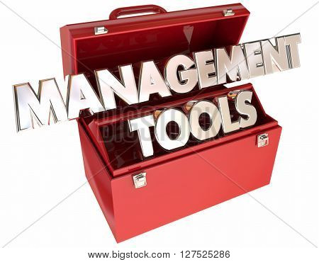 Management Tools 3d Words Toolbox Leading Organization Team Executive