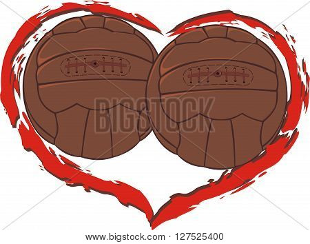 i love soccer - vector heart shape with two vintage balls