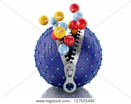 3d renderer image. Network globe with zipper open and inside color balls with internet words. Network Communications concept. Isolated white background.
