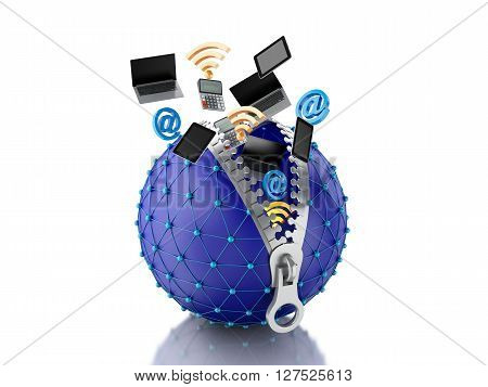 3d renderer image. Network globe with zipper open and inside internet icons. Network concept. Isolated white background.