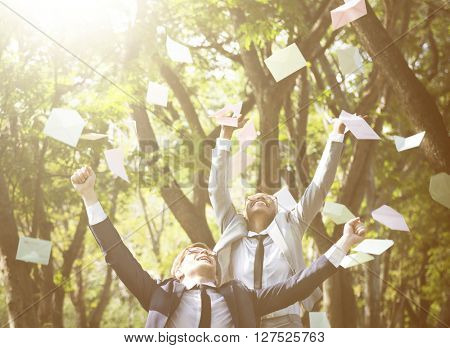 Business People Celebration Flying Throwing Envelope Concept