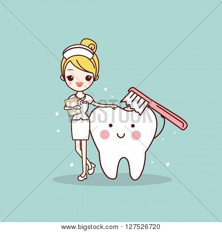 cartoon tooth and nurse with toothbrush great for dental care concept