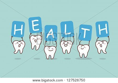cute cartoon tooth jump with billboard health great for health dental care concept