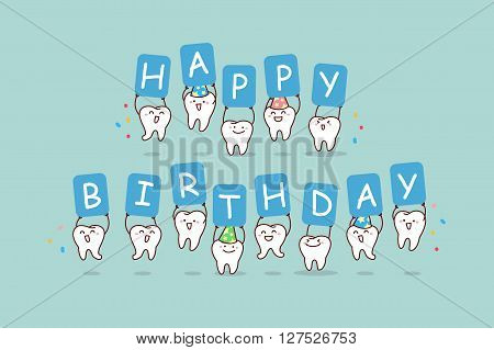 cute cartoon tooth jump with billboard happy birthday great for health dental care concept
