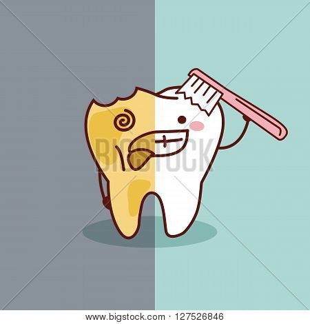 cartoon healthy and decayed tooth with toothbrush great for dental care concept