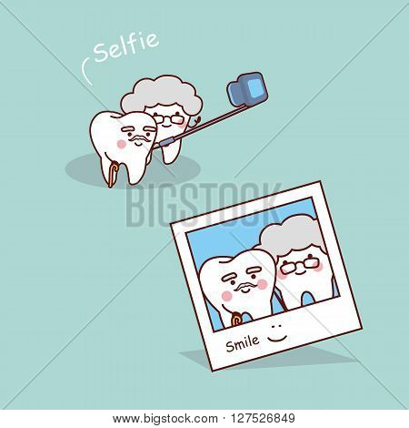 cartoon senior teeth selfie great for dental care concept