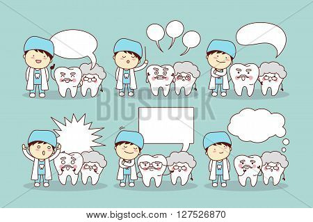 cute cartoon senior tooth and doctor or dentist with speech bubble great for health dental care concept
