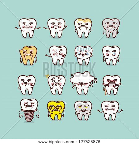 cute cartoon senior healthy and decayed tooth with various expresstion great for health dental care concept