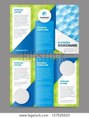 Trifold business brochure design template. Vector flyer, leaflet or booklet design. Tri fold.