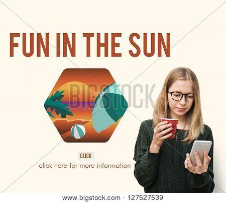 Summer Sun Beach Fun Leisure Travel Smartphone Application Concept