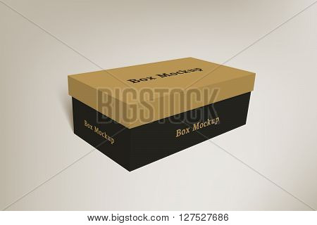 Shoes product packaging mock-up box. Illustration isolated on gradient background. Mock up template scene 2.