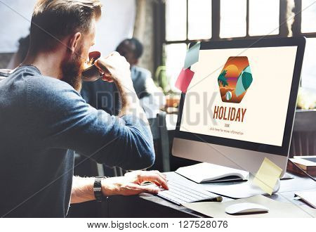 Man Researching Holiday Graphic Concept