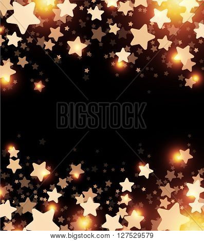 Black starry background with stars confetti. Vector paper illustration.