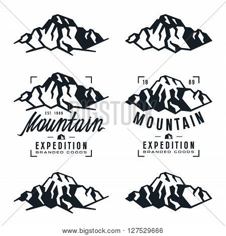Mountain expedition labels badges and design elements. Black print on white background