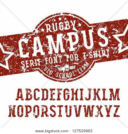 Slab serif font in sport style with shabby texture. Font design for t-shirt. Color print on white background