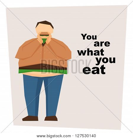 Big fat man that looks like hamburger eat hamburger