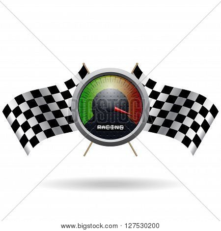 Speedo and two crossed checkered flags. Vector speedometer and vector checkered flag. Vector crossed checkered flags.
