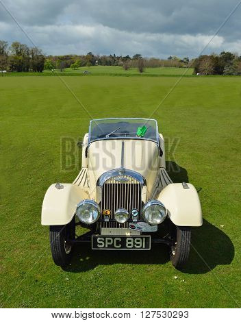 Saffron Walden, Essex, England - April 24, 2016: Classic white Morgan motor car.