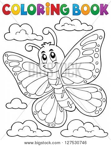 Coloring book happy butterfly topic 1 - eps10 vector illustration.