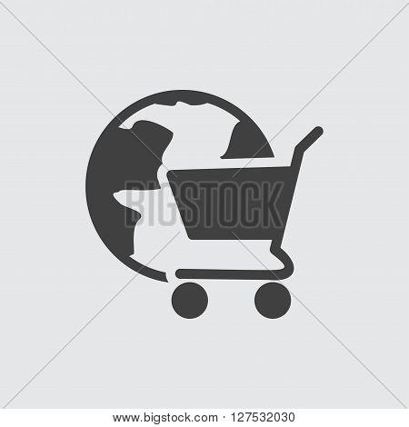 Globe cart icon illustration isolated vector sign symbol