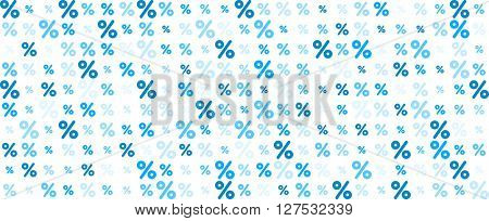 White sale banner with percent signs. Vector paper illustration.