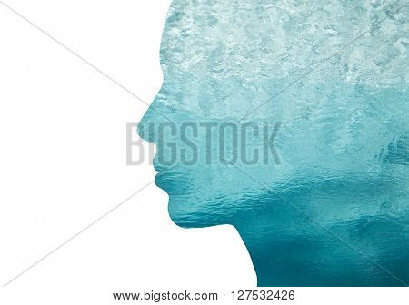 beauty, nature, travel and ecology concept - portrait of woman profile with sea water with double exposure effect