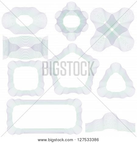 Abstract Decorative Wave Frames Isolated on White Background