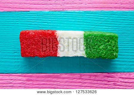 Mexican coconut flag candy striped chredded sweet from Mexico