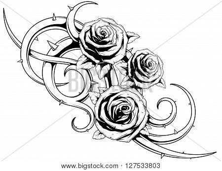 A vector illustration of cool roses with spikes tattoo