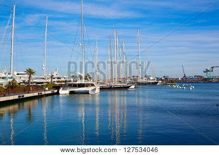 Puerto de Valencia marina port of Spain at Mediterranean sea