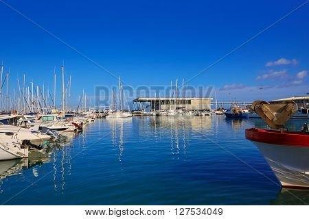 Denia marina port in Alicante of Mediterranean Spain