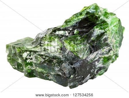 Raw Chrome Diopside Stone Isolated On White