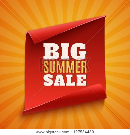 Big summer sale poster. Red, curved, paper banner on orange background with light rays. Vector illustration.