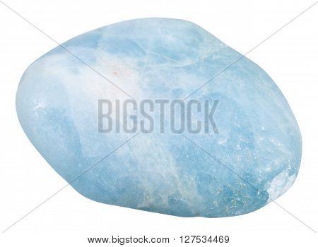 Tumbled Aquamarine (blue Beryl) Gemstone Isolated