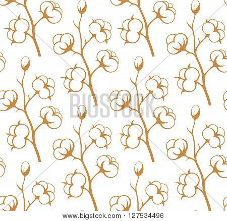 Cotton. Abstract flowers on white background (EPS)