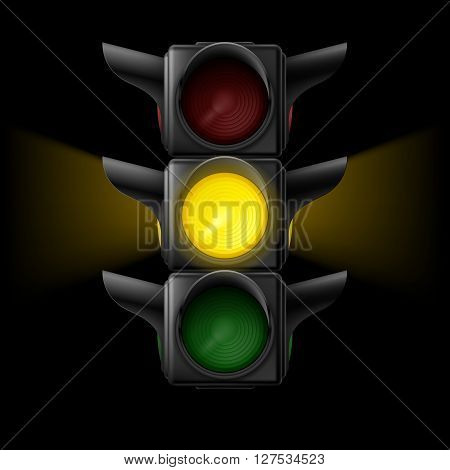 Realistic traffic lights with yellow lamp on. Wait signal. Illustration on black