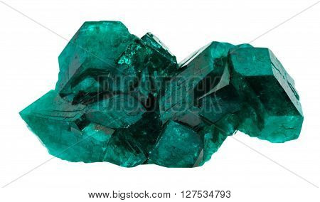 Emerald-green Dioptase Gemstone Isolated On White