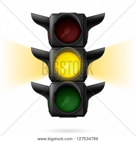 Realistic traffic lights with yellow color on and sidelight. Wait signal. Illustration on white background