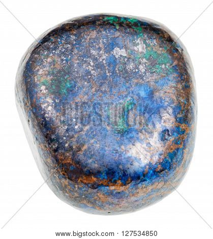 Polished Blue Azurite Gem Isolated