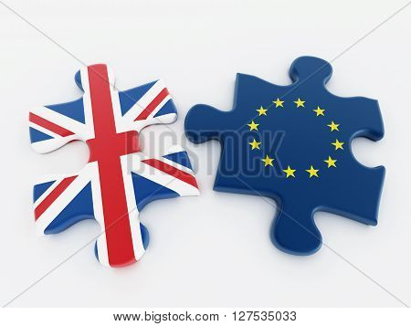 Britain and European Union flags on attached puzzle parts