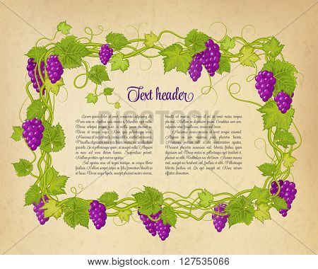 Brown wrinkled paper with colorful green violet branch of grapes. Vector illustration.