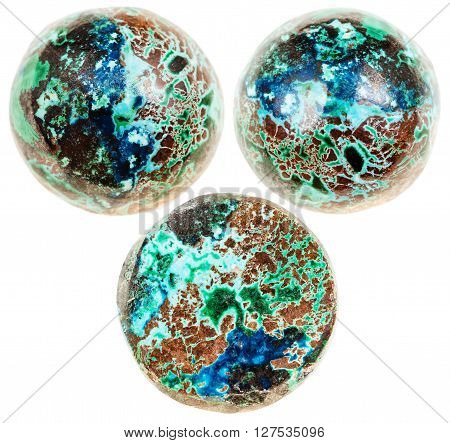Three Balls From Chrysocolla With Cuprite Gemstone